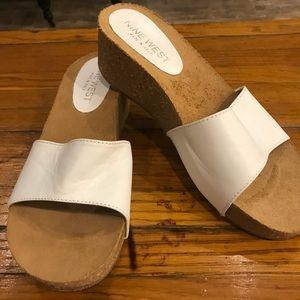 Nine West white sandals